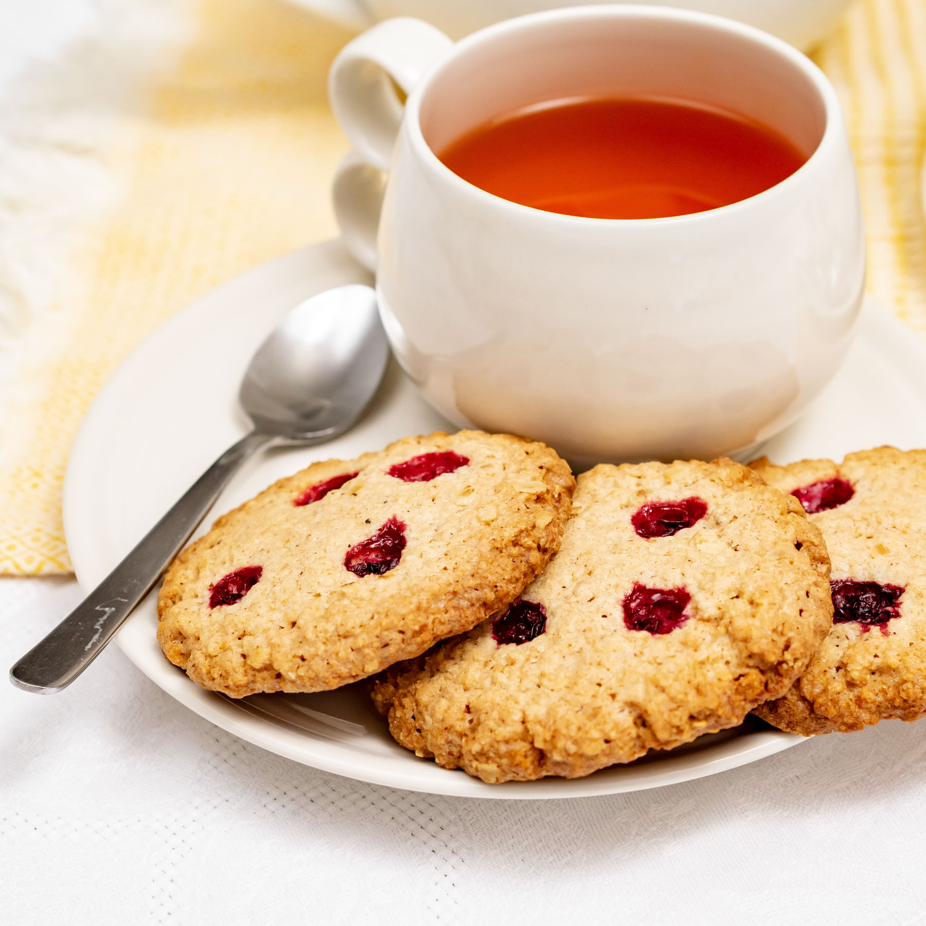 Gluten-free oat & lingonberry cookies