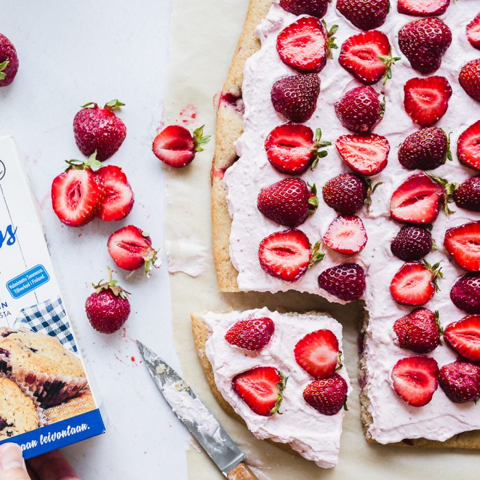Gluten-free vegan strawberry sheet cake