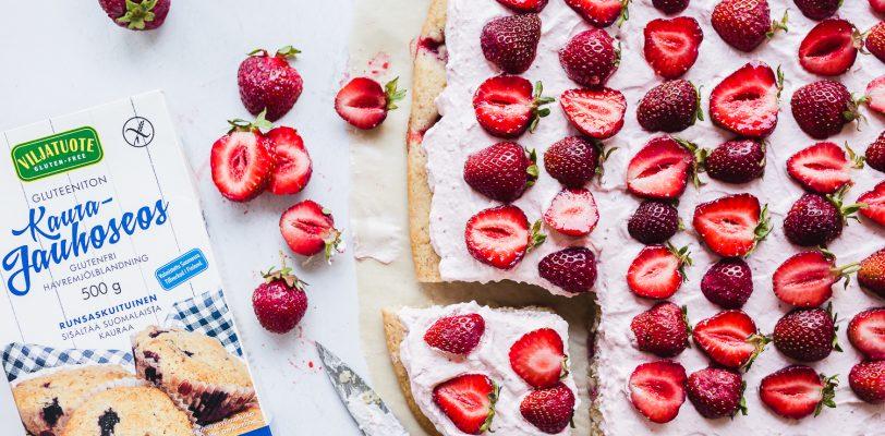 Gluten-free vegan strawberry sheet cake