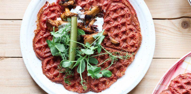 Gluten-free beetroot waffles